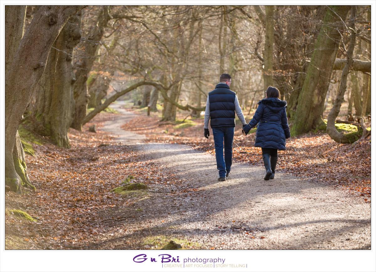 A wonderful woodland walk pre-wedding session with Sarah and David   GnBri Photography
