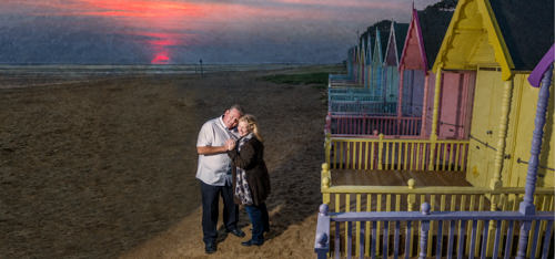 Essex based pre-wedding session by the beach huts.