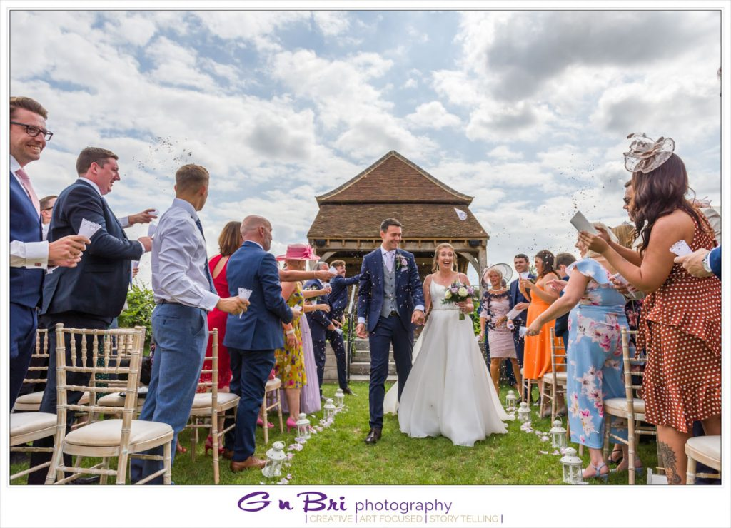 Beautiful Confetti at an Outdoor Wedding at The Barns at Redcoats