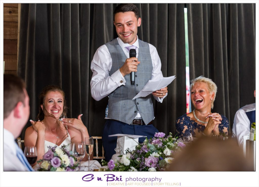 The Groom Get Lots of Laughs During his Speech